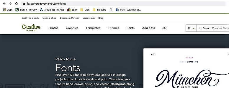 Picture of Creative Market website for free fonts