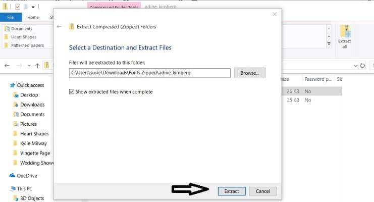 Select destination to unzip the file in the post how to unzip a file on a PC