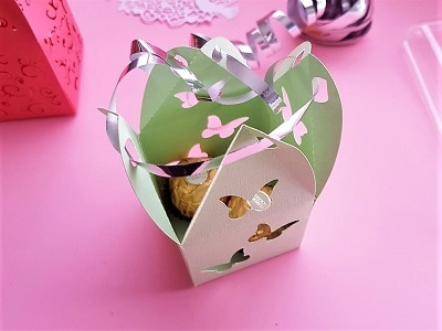 super cute box fully joined with ribbon ready for the bow.