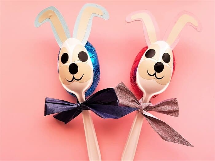 Easter bunny spoons with an egg for easter on a budget