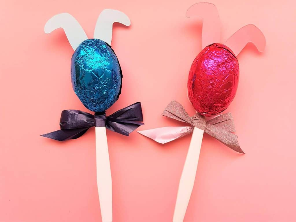 Adding the Easter eggs to the bunny spoons for the post Easy Easter idea
