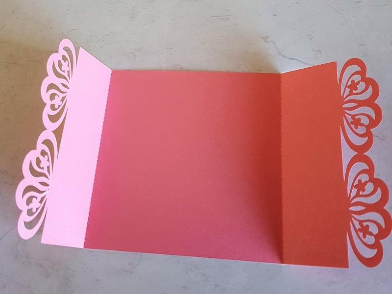 Fold lines for laser cut wedding invitations