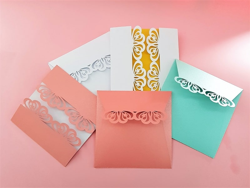 Laser cut cards for weddings or special event cut with the Scan N Cut