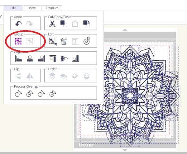 Canvas Workspace Trace Image select the group icon as shown in the graphic