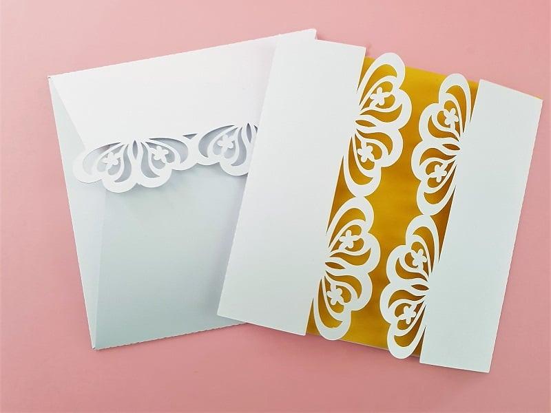 White edged Laser Cut Wedding Invitations