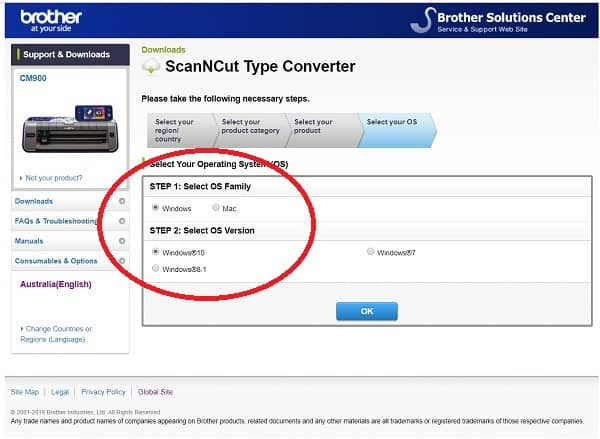 Brother Type Converter second page of download session