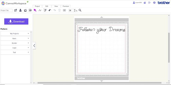 Canvas Workspace with the Font imported