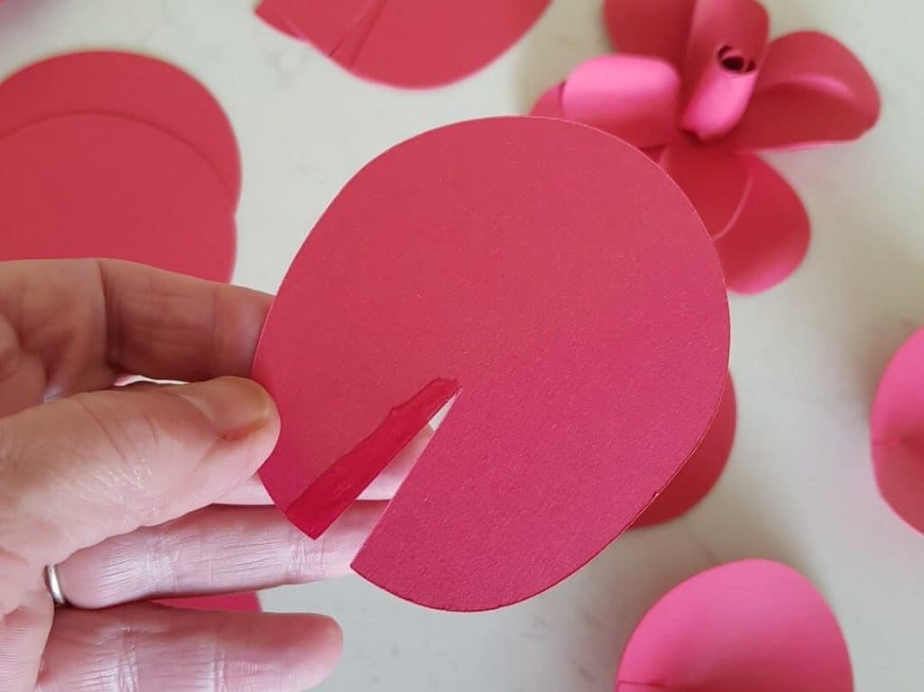 Rose paper petal glue the edge to join