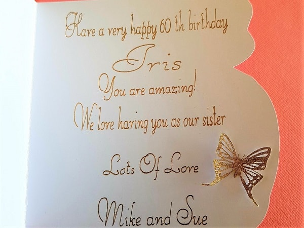 Foiled writing inside a card. - Post is How to use the Foil Quill