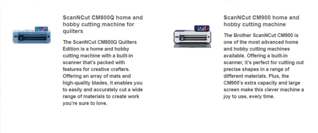 Information on the CM800Q and CM900 in the post how to choose a Scan N Cut to buy