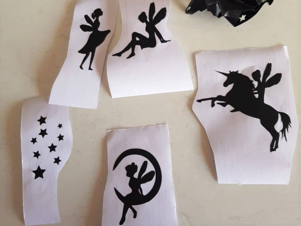 Fairy light jar weeded design with fairies, unicorn and stars