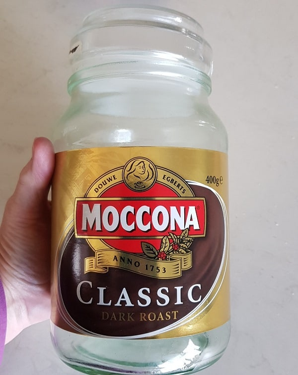 Moccona jar re-purposed for fairy light jar