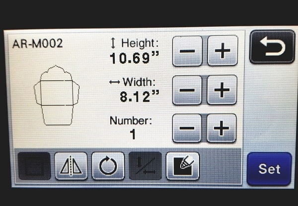 Scan N Cut screenshot showing how to increase height and width in the post how to make a large envelope