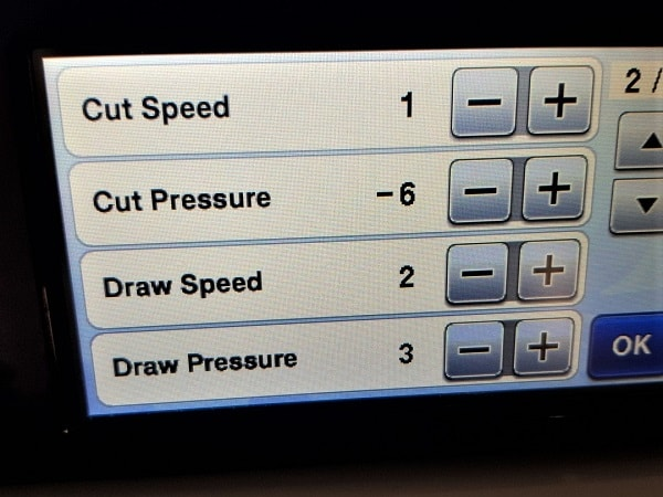 Adjustment on the Scan N Cut of the pressure setting to reduce cutting issues.