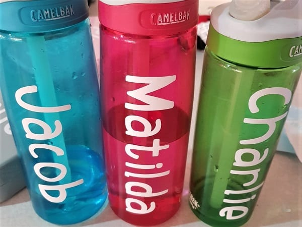Drink bottle with back to school labels attached