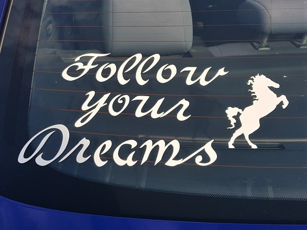 Follow your dreams car decal cut with the Scan N Cut
