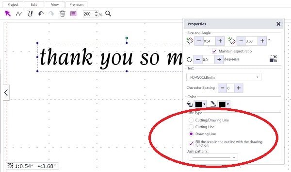 Online Canvas Workspace showing the draw and fill options for the thank you card insert