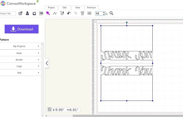 Online version of Canvas Workspace with the thank you card uploaded