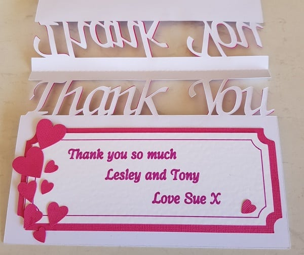 The insert of the thank you card using the draw function.