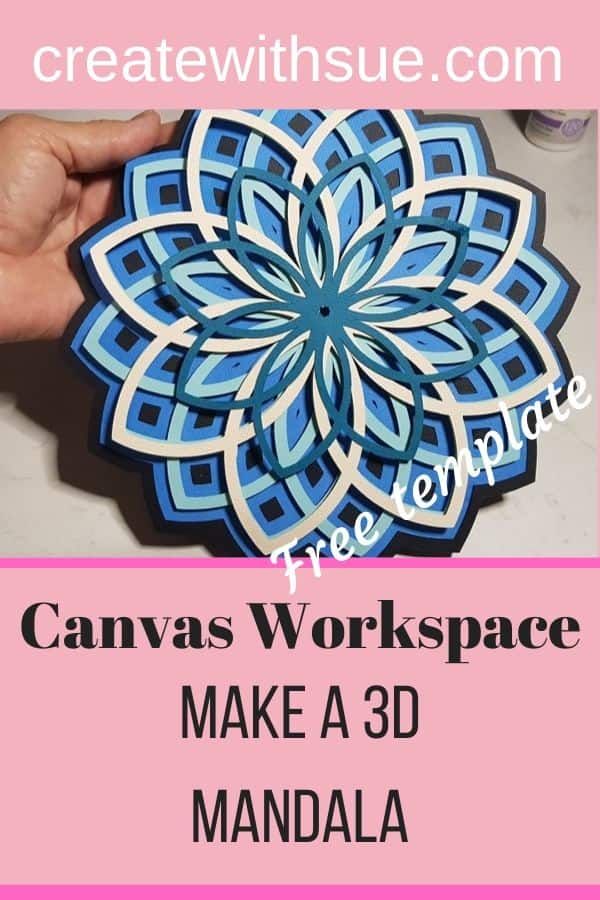 PInterest pin for 3D mandala with free template included