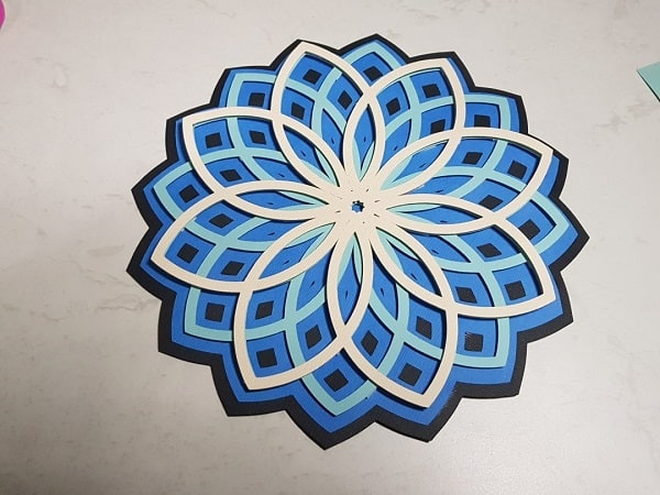 3D Mandala with base layer, layer 3, layer 2 and layer 2 completed.