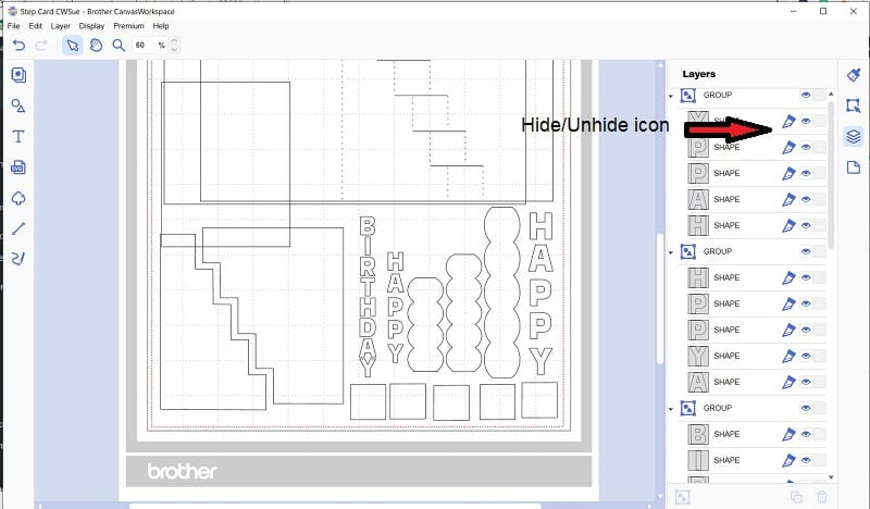 Canvas Workspace hide and unhide icon in the Layers Panel