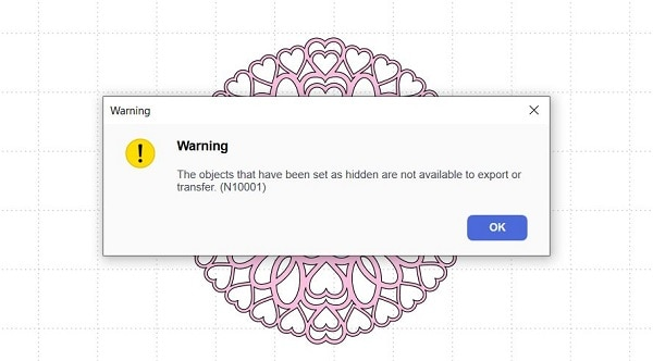 Error or warning message in Canvas Workspace where there are hidden layers.