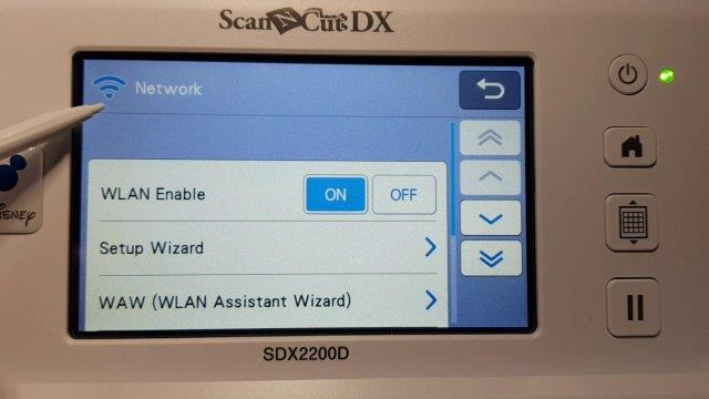Wifi activated in the top right hand corner of the DX Scan N Cut screen