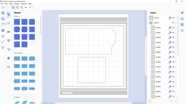 Imported Foil rose card template into Canvas Workspace ready for the Brother foil rose to be added.
