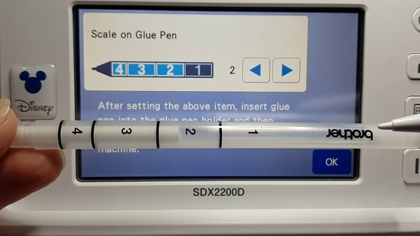 Glue pen and settings for the Brother foil kit also showing the matching settings in the SDX2200D Scan N Cut