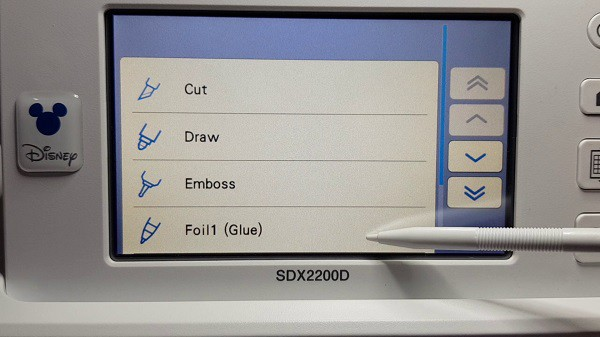 Brother Scan N Cut screen  showing the Foil1 (glue) selection to select as the first step in foiling.