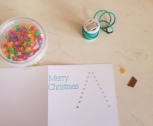 Threaded Christmas Tree card components ready to make it.