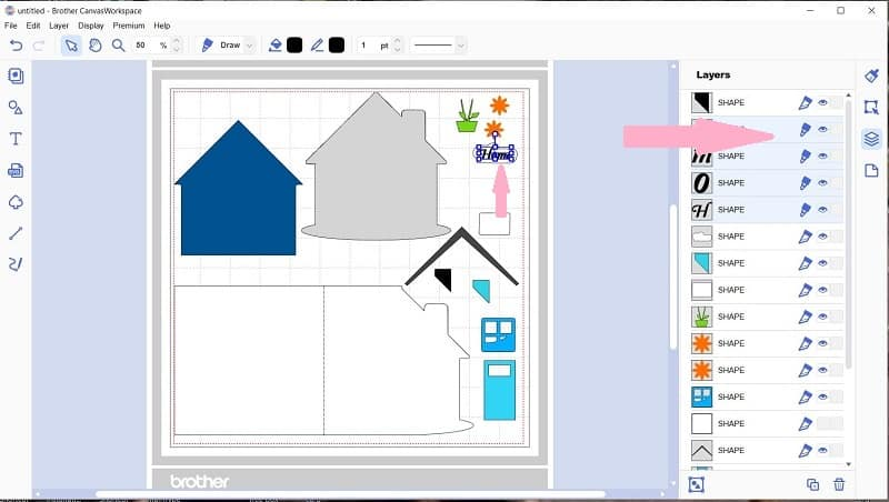 Canvas Workspace showing the shaped house card in the layers panel with the home lettering already altered to a draw file.