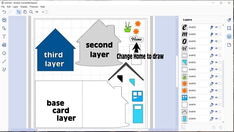 The various layers of the shaped house card fo make.