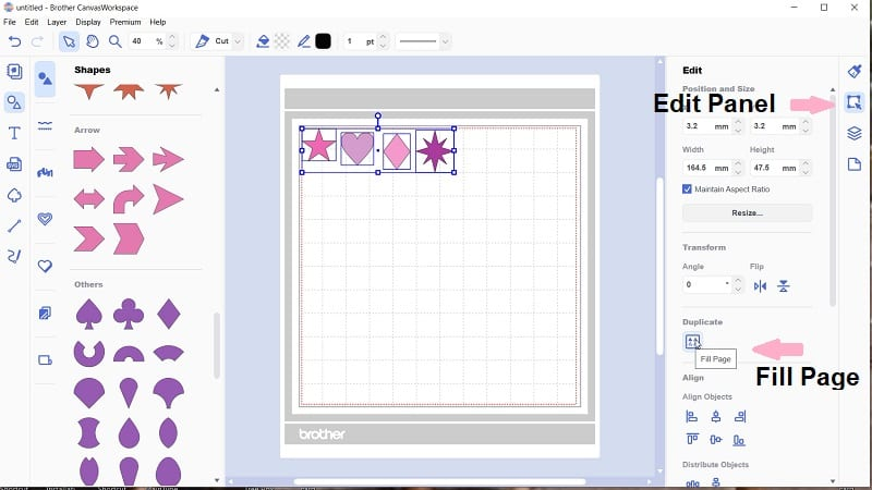 Go to the Edit panel and then down to the Fill Page icon to duplicate patterns.